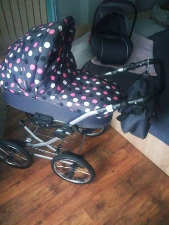 Wózek dziecięcy 2 w 1 klasyczny w stylu Retro +fotelik samochodowy