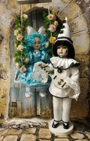 """Куклы фарфоровые сюжетные """"Пьеро и Мальвина"""""""