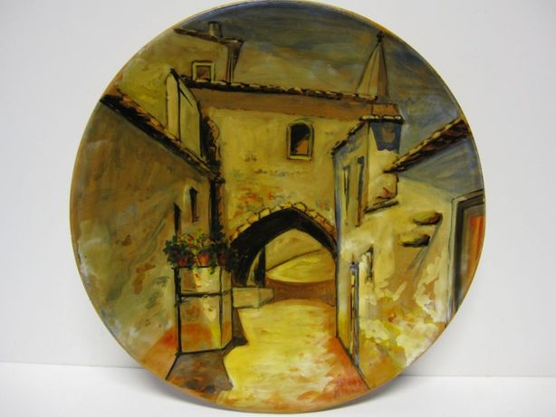 lindo prato em cerâmica pintada de Óbidos-assinado ALBINO