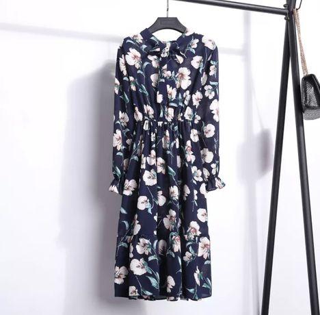 Темно-синее платье шифоновое крупный принт цветы темно синя сукня