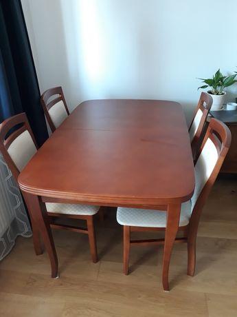 Stół rozkładany + 6 krzeseł tapicerowanych