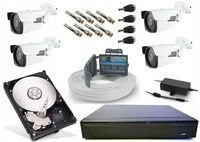 Zestaw monitoring 4 kamery szerokokątne 2Mpx FullHD zoom puszki alarm
