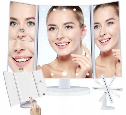 Podświetlane Lusterko Kosmetyczne 22x LED Obrotowe D119