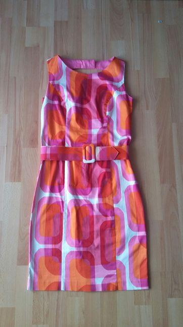 Sukienka z paskiem, wycięte plecy, piękne żywe kolory rozm. S-M