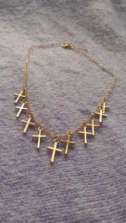 Łańcuszek krzyż krzyżyk złoto złoty
