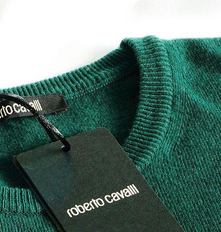 Roberto Cavalli sweter XXL zielony merino kaszmirowy tommy hilfiger