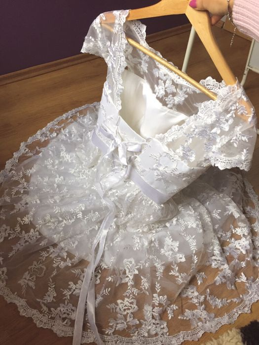 Krótka sukienka suknia ślubna weselna na poprawiny cywilny koronkowa Starachowice - image 1