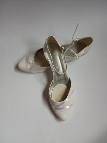 Buty ślubne białe czółenka rozmiar 38 niski obcas