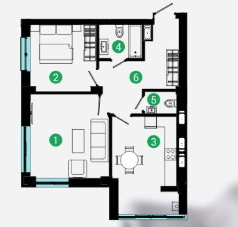 Велика 2 кім квартира у зданому будинку, вул. Хіміків 69,5м2