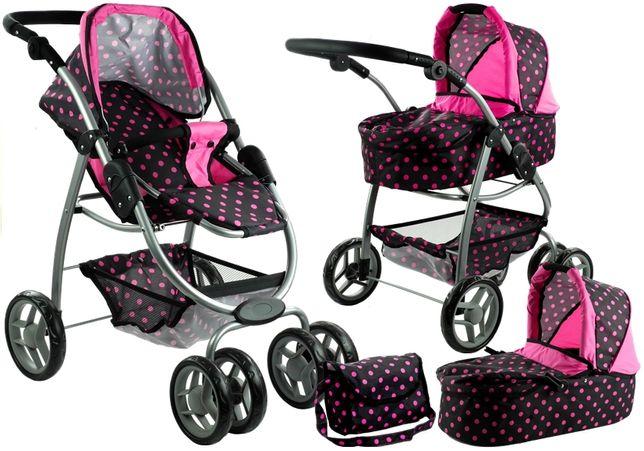 NOWY Wózek dla lalek W GROSZKI Głęboki, Spacerówka, Gondola 2w1 TORBA