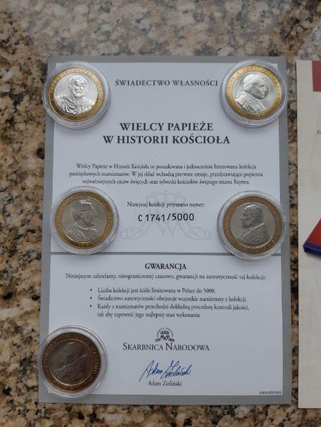 Medale srebrne - papieże - komplet 6 szt