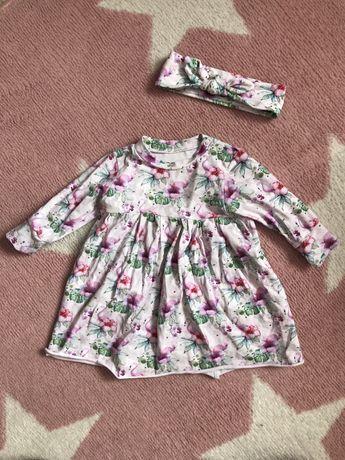 Piękna sukienka z opaską handmade flamingi wiosna lato