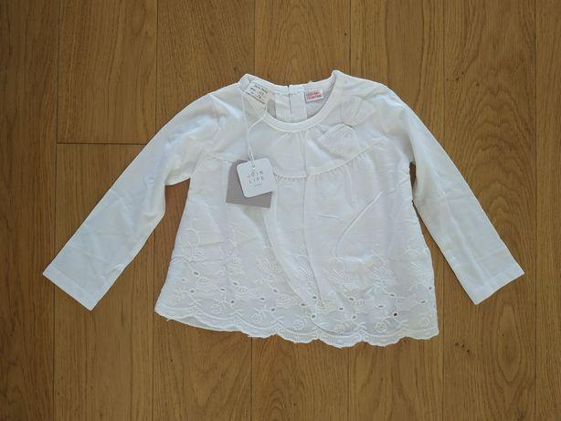 74 NOWA bluka bluzeczka koszulka Zara biała koronka kokarda