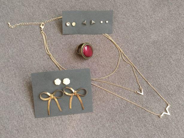 Zestaw biżuterii pierścionek naszyjnik 5x kolczyków kokardki kwiatki