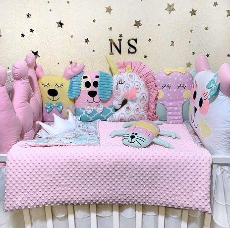 Бортики в кроватку, детское постельное белье, подушки звери, постель