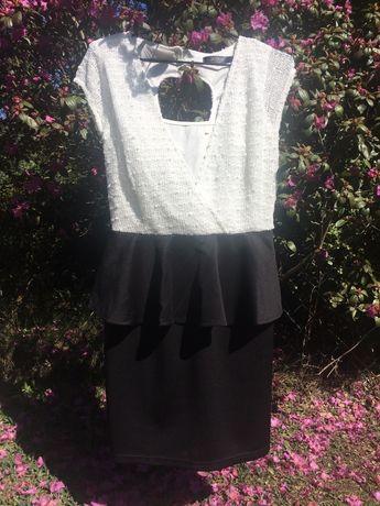 Sukienka ołówkowa z baskinką, czarno - biała, Jasmine Asos r.36 S
