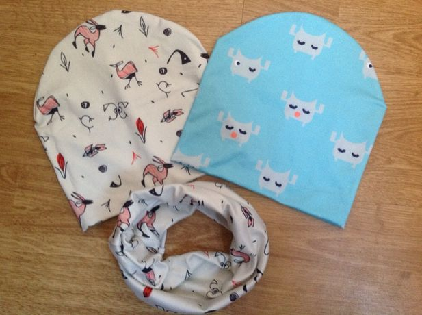 Детская шапочка на весну шапка снуд набор на малыша ребенка до 1 год