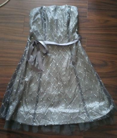 Vestido de festa cerimónia cinza