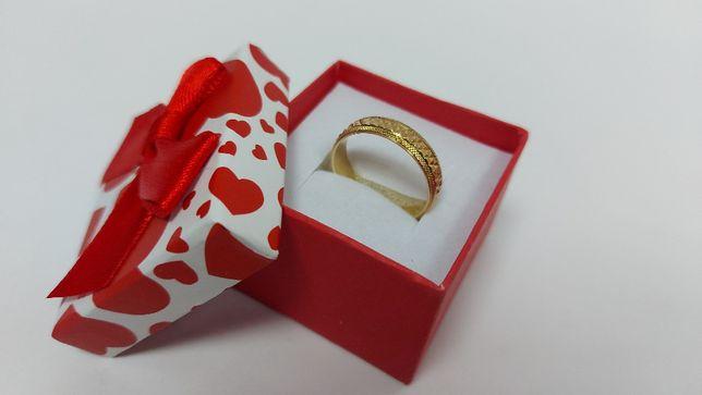 Oryginalna piękna złota obrączka złoto 585 rozmiar 24