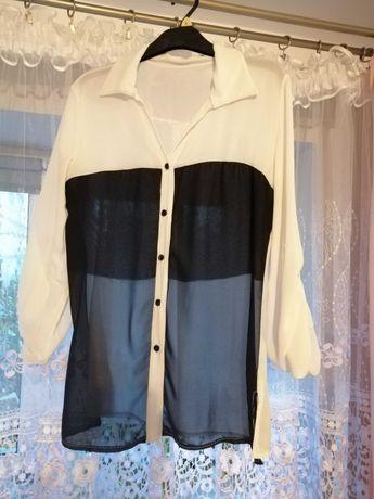 Biała czarna bluzka koszula na guziki elegancka