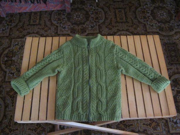 Свитер шерстяной с разъемной молнией ,ручной вязки, 100% шерсть