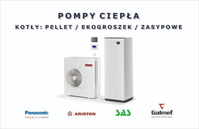 Pompy ciepła Kotły pellet ekogroszek montaż piece dotacje - Białystok