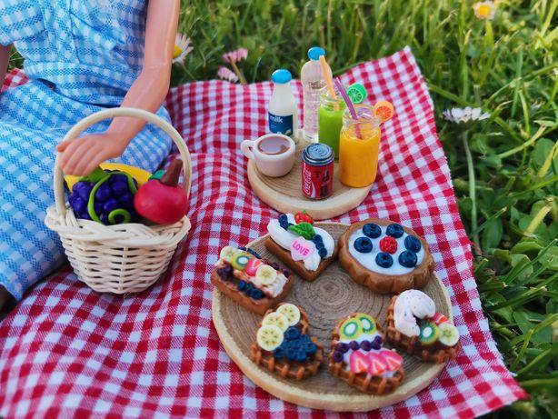 Miniatury, dollhouse, domek dla lalek, Barbie, Evi, piknik, jedzenie