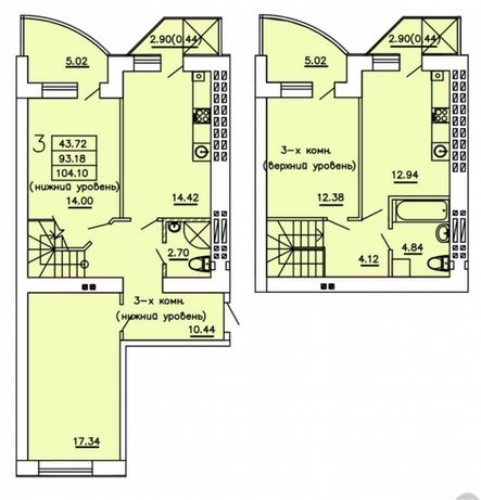 В продаже 3 комнатная двухуровневая квартира на Семена Палия