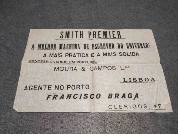 Antiga publicidade Maquinas de escrever Smith Premier