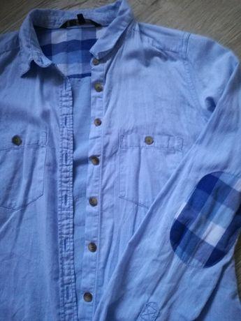 Elegancka błękitna koszula w jodełkę 36 łaty do biura