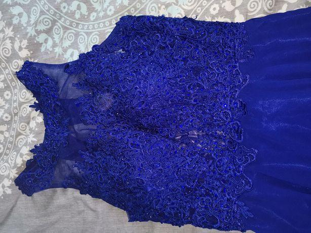 Sukienka ślub wesele rozmiar 38 40 M L szafirowa niebieska długa maxi