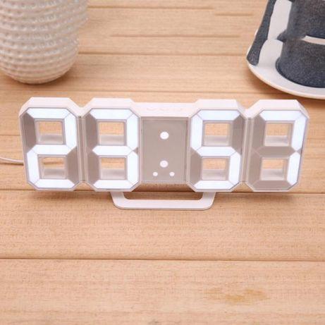 Электронные настольные LED часы с будильником и термометром