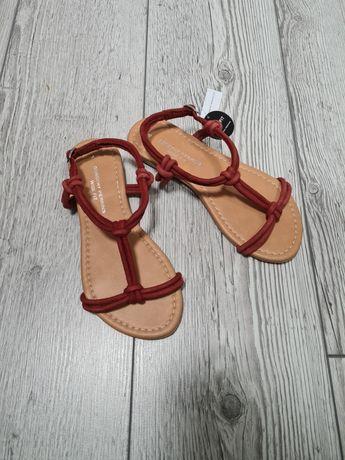 Dorothy Perkins sandały czerwone skóra wide fit 37 nowe