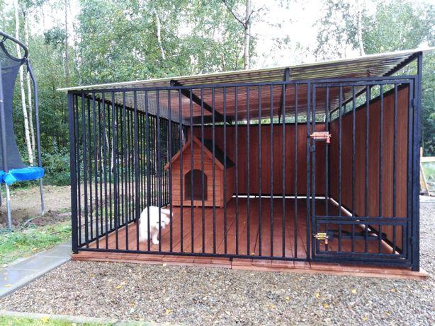 Kojec dla psa z drewnianymi ścianami 4x3 m, SZYBKA REALIZACJA