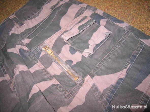Spodnie męskie moro zielone bojówki rock metal urbex military