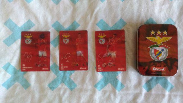 Coleção de cartas jogadores do benfica e sporting com caixa do benfica