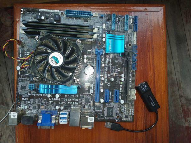 Материнка asus p8h61-m pro, комплект процессор i3-3220 и DDR 3 4 GB