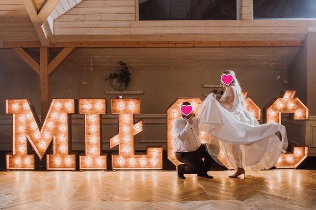 Napis MIŁOŚĆ drewniany, napis love, ścianka na wesele, podświetlane