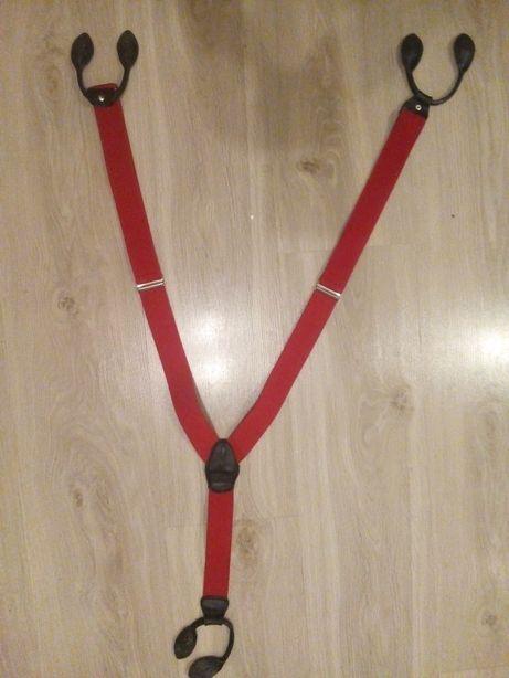 Eleganckie szelki męskie, czerwone szer.3,5cm ( guma, skóra)