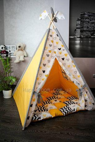 Вигвамы. Палатка. Домик. Теплый коврик+флажки + фиксатор в комплекте!!