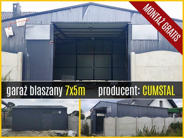 Garaż blaszany dwuspadowy 7x5m z dwoma bramami , i drzwiami - Cumstal