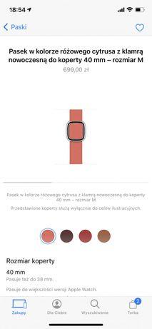 Apple Watch pasek skórzany rożowy cytrus, rozmiar M
