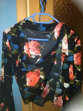 Kopertowa Bluzka w Róże Róż 44 Nowa
