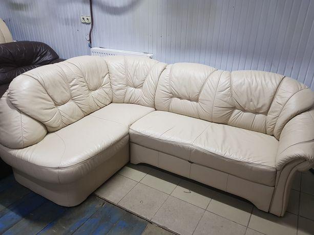 Narożnik skórzany kanapa sofa rogówka skóra funkcja spania jak nowy