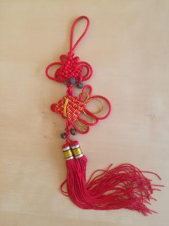 Ozdobny chiński węzeł zawieszka w kształcie ryby z dzwonkami