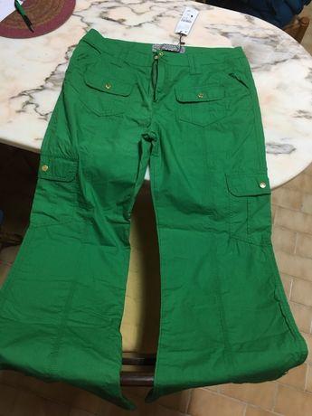 Calças largas LANIDOR verdes tamanho 42 novas com etiqueta