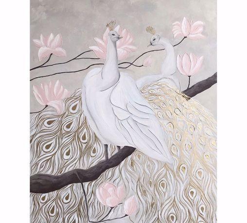 Картина 100*70см, интерьерная картина, картина магнолии павлины
