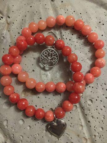 Marmur NOWE Bransoletki z kamieni naturalnych - 2szt różowe ZESTAW