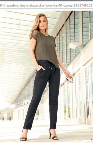 (18) Granatowe spodnie z koronką 44-46 NOWE