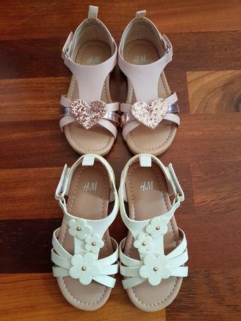 Śliczne sandałki białe i różowe h&m r.25